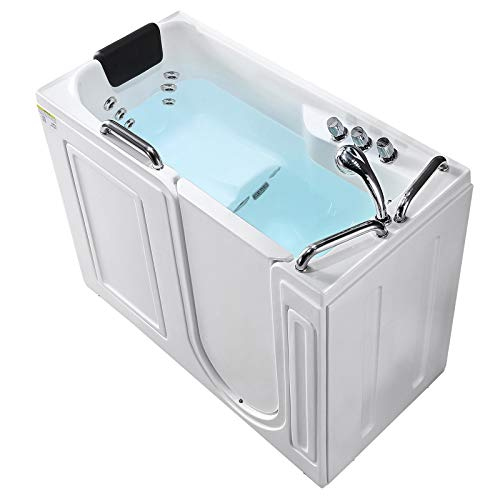 Mecor Walk-in Whirlpool Bathtub, Rectangular Soaking Bathtub with Built-in Seat,Right Intward Opening Door with Right Drain, 53'' x 27'' x 40'', White