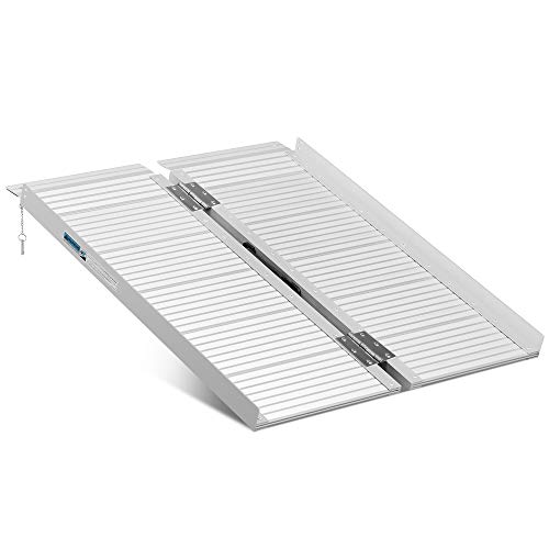ORFORD Non Skid Folding Wheelchair Ramp 3ft, 800 lbs Weight Capacity, Utility Mobility Access Threshold Ramp, Portable Aluminum Foldable Wheelchair Ramp, for Home Steps Stairs Doorways Scooter