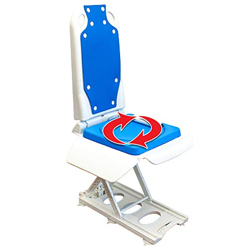 Tranquilo Premium Electric Bath Lift with Padded, SAFESWIVEL Rotating SEAT and Electric Recline. 400lb. Lifting Capacity and Extra High Lifting Range up to 21.5 inches.