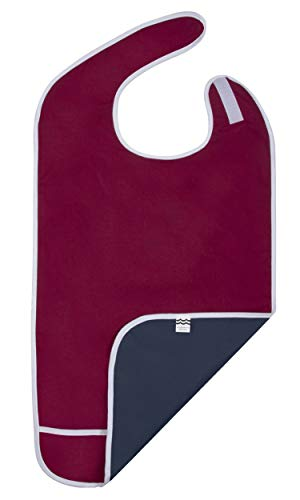 Adult Bib for Eating, Waterproof Clothing Protector with Crumb Catcher. Machine Washable (Red-regular width)