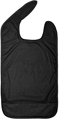 Betty Dain Adult Bib, Waterproof Clothing Protector with Crumb Catcher, Black