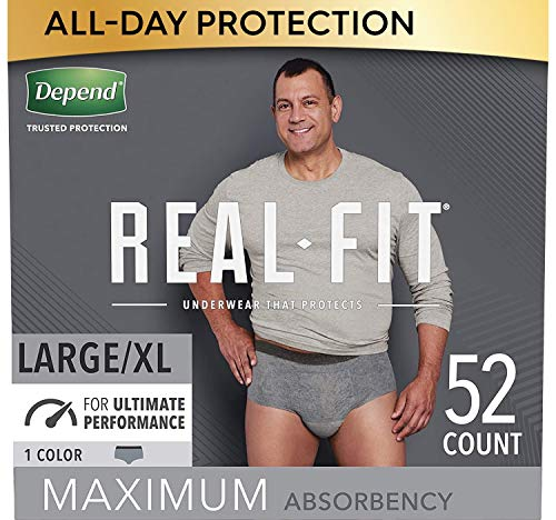 Depend Real Fit Incontinence Underwear for Men, Maximum Absorbency, Disposable, Large/Extra-Large, Grey, 52 Count (Packaging May Vary)