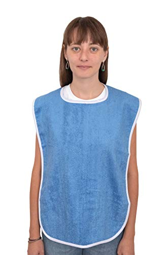 Elaine Karen Premium Adult Bibs - for Men, Women Eating Cloth for Elderly Seniors and Disabled, Adjustable, Terry Clothing Protector, Machine Washable, Blue (3PK)