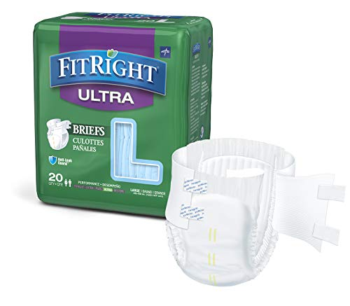 """FitRight Ultra Adult Diapers, Disposable Incontinence Briefs with Tabs, Heavy Absorbency, Large, 48""""-58"""", 4 packs of 20 (80 total)"""