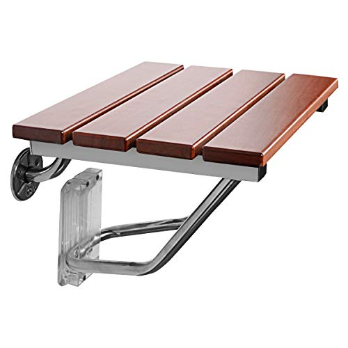 """Giantex 15"""" Folding Shower Seat Bench Wooden Wall Mount Solid Wood Construction W/Steel Frame, 300lb Capacity for Senior, Handicap Disabled, Medical Use Foldable Bathroom Stool Foldaway Shower Chair"""