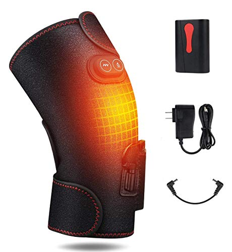 Heated Knee Massager, 3 Level Adjustable Heat and Temperature Vibration Knee Massager, Massage Knee Brace Wrap for Arthritis Pain and Support