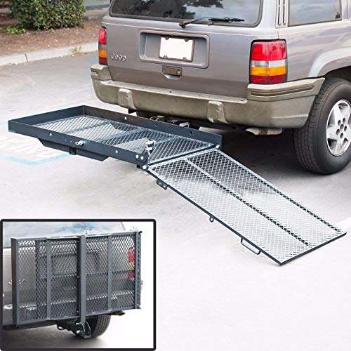 KUAFU Folding Wheelchair Scooter Carrier Rack Luggage Basket Disability Medical Lift Rack Loading Ramp Trailer Hitch Mount Steel