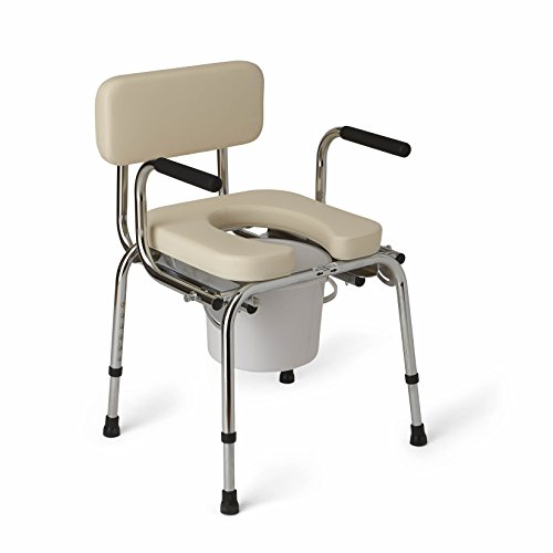 Medline Heavy Duty Padded Drop-Arm Commode