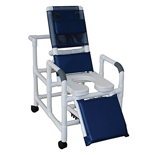 MJM International 193-SSDE Reclining Shower Chair with Elevated Leg Extension and Open Front Soft Seat, 325 oz Capacity, Royal Blue/Forest Green/Mauve