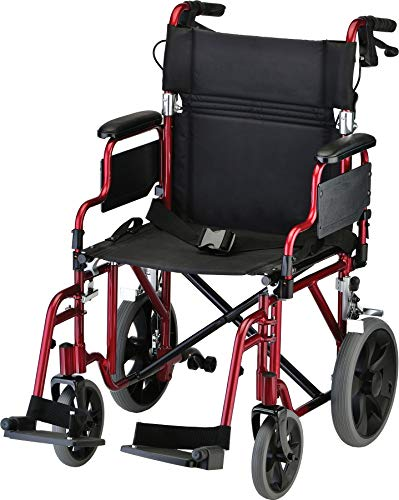 "NOVA Medical Products Lightweight Transport Chair with Locking Hand Brakes, 2"" Rear Wheels, Red, 1 Count (Pack of 1)"