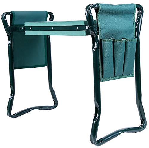 Ohuhu Garden Kneeler and Seat with 2 Tool Pouches, 2-in-1 Foldable Garden Bench Garden Stools, Portable Garden Kneeling Pad