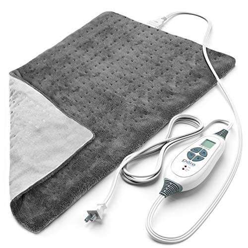"Pure Enrichment® PureRelief™ XL (12""x24"") Electric Heating Pad for Back Pain and Cramps - 6 InstaHeat™ Settings, Machine-Washable, Ultra-Soft Microplush, Auto Shut-Off, and Moist Heat (Charcoal Gray)"