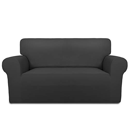 PureFit Super Stretch Chair Sofa Slipcover – Spandex Non Slip Soft Couch Sofa Cover, Washable Furniture Protector with Non Skid Foam and Elastic Bottom for Kids, Pets (Loveseat, Dark Gray)