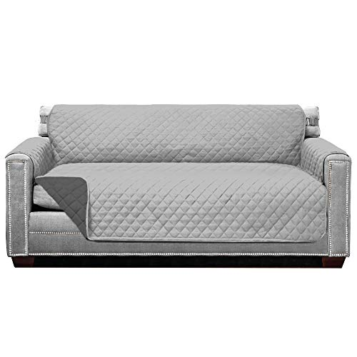 Sofa Shield Original Patent Pending Reversible Large Sofa Protector, Many Colors, Seat Width to 70 Inch, Furniture Slipcover, 2 Inch Strap, Couch Slip Cover Throw for Pets, Dogs, Light Gray Charcoal