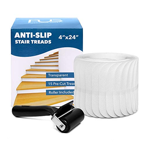 Stair Treads Non-Slip Strips for Indoors 4 x 24 Clear Safety Anti Slip Stair Grips for Wood Floors to Prevent Slippery Surfaces 15 PEVA Non Skid Tape