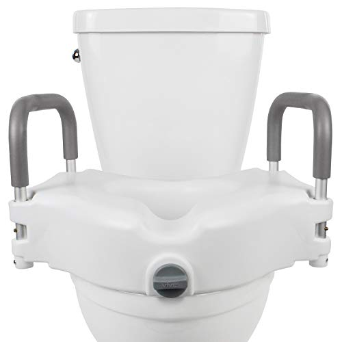 "Vive Raised Toilet Seat - 5"" Portable, Elevated Riser with Padded Handles - Elongated and Standard Fit Commode Lifter - Bathroom Safety Extender Assists Disabled, Elderly, Seniors, Handicapped (1)"