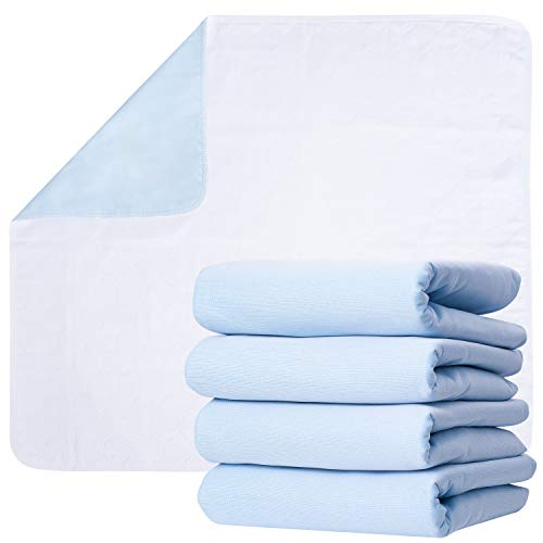 """Washable Underpads, Pack of 4 Large Bed Pads, 30"""" x 34"""", for use as Incontinence Bed Pads, Reusable pet Pads, Great for Dogs, Cats, Bunny & Seniors by Green Lifestyle (4 Pack 30x34)"""
